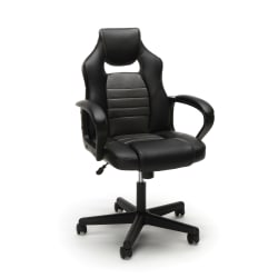Essentials By OFM Racing-Style Mid-Back Gaming Chair, Gray/Black
