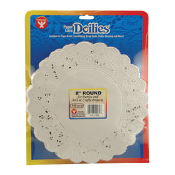 """Hygloss Round Doilies, 8"""", White, 100 Doilies Per Pack, Set Of 3 Packs"""