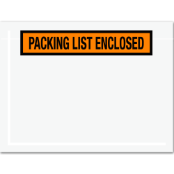 "Office Depot® Brand ""Packing List Enclosed"" Envelopes, Panel Face, 6 1/2"" x 5"", Orange, Pack Of 1,000"
