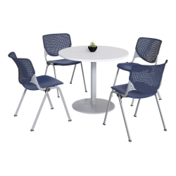KFI Studios KOOL Round Pedestal Table With 4 Stacking Chairs, White/Navy