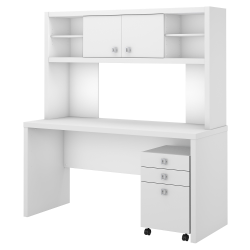kathy ireland® Office by Bush Business Furniture Echo Credenza Desk With Hutch And Mobile File Cabinet, Pure White, Standard Delivery