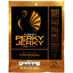 Perky Jerky More Than Just Original Turkey Jerky, 2.2 Oz, Case Of 12 Packs
