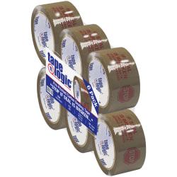 "Tape Logic® Stop If Seal Is Broken Preprinted Carton-Sealing Tape, 3"" Core, 2"" x 55 Yd., Red/Tan, Case Of 6"