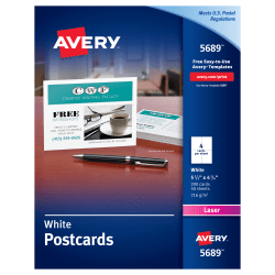 "Avery® Laser Post Cards, 4 1/4"" x 5 1/2"", White, Box Of 200"