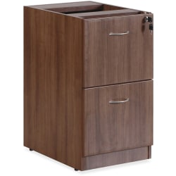 "Lorell® Essentials 22""D Vertical 2-Drawer Fixed Pedestal File Cabinet, Metal, Walnut"