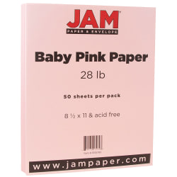 """JAM Paper® Printer Paper, Letter Size (8 1/2"""" x 11""""), 28 Lb, Baby Pink, Ream Of 50 Sheets"""
