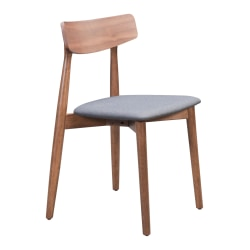 Zuo Modern Newman Dining Chairs, Gray/Walnut, Set Of 2 Chairs