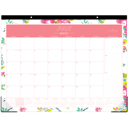 """Blue Sky™ Day Designer Monthly Desk Pad, 17"""" x 22"""", Peyton White, July 2021 To June 2022, 107938"""