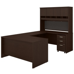 "Bush Business Furniture Components 60""W U-Shaped Desk With Hutch And Mobile File Cabinet, Mocha Cherry, Premium Installation"