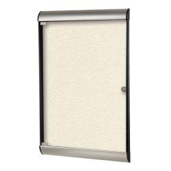 "Ghent Silhouette 1-Door Enclosed Bulletin Board, Vinyl, 42-1/8"" x 27-3/4"", Ivory, Satin Black Aluminum Frame"