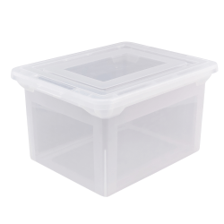"""Office Depot® Brand File Tote, Letter/Legal Size, 18"""" x 14 1/4"""" x 10-7/8"""", Clear"""