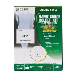 """C-Line 92443 Specialty Name Badge Holder Kits, Rectangular, 4"""" x 3"""", Clear, 50 Per Box"""