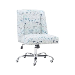 Linon Home Decor Products Cooper Mid-Back Home Office Chair, Glasses Print/Chrome