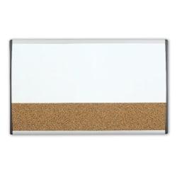 "Quartet® ARC™ Magnetic Combination Dry-Erase/Cork Cubicle Board, 30"" x 18"", Silver Aluminum Frame"