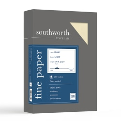 """Southworth® 25% Cotton Linen Business Paper, 8 1/2"""" x 11"""", 24 Lb, 55% Recycled, FSC® Certified, Ivory, Box Of 500"""