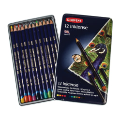 Derwent Inktense Pencil Set, Assorted Colors, Set Of 12 Pencils