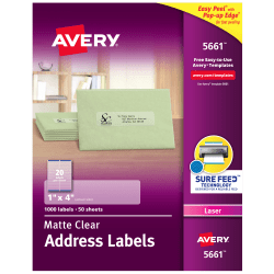"""Avery® Easy Peel® Permanent Laser Address Labels, 5661, 1"""" x 4"""", Clear, Pack Of 1,000"""