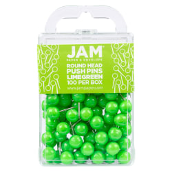 """JAM Paper® Colorful Push Pins, 1/2"""", Lime Green, Pack Of 100 Push Pins"""