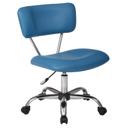 Office Star™ Avenue Six Vista Bonded Leather Task Chair, Blue/Silver
