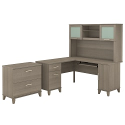 "Bush Furniture Somerset L Shaped Desk With Hutch And Lateral File Cabinet, 60""W, Ash Gray, Standard Delivery"