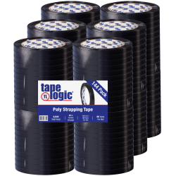 "Tape Logic® Tensilized Poly Strapping Tape, 3"" Core, 0.5"" x 60 Yd., Black, Case Of 144"