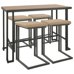 Lumisource Roman Industrial Counter-Height Table With 4 Stools, Gray/Camel