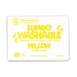 "Center Enterprise Jumbo Washable Unscented Stamp Pads, 6 1/4"" x 4"", Yellow, Pack Of 2"
