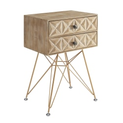 """Linon Home Decor Products Monte 2-Drawer Accent Table, 27-7/16""""H x 18-15/16""""W x 14""""D, Natural/Gold"""