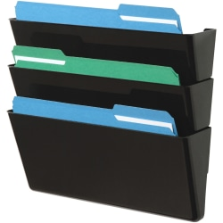 "Deflect-O Stackable 3-Pocket DocuPocket Wall File, 19""H x 13""W x 4""D, Black"