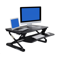 FlexiSpot M2 Height-Adjustable Standing Desk Riser With Removable Keyboard Tray, Black