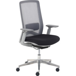 StyleWorks LA Mid Back Mesh/Fabric Chair, Black/Off-White