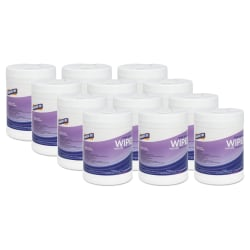 "Genuine Joe Lemon Scent Hand Sanitizing Wipes - Lemon - 6"" x 8"" - White - Anti-bacterial, Alcohol-free, Non-abrasive - 240 Quantity Per Canister - 12 / Carton"