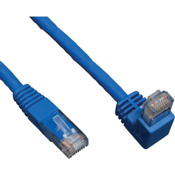 Tripp Lite 10ft Cat6 Gigabit Molded Patch Cable RJ45 Right Angle Down to Straight M/M Blue 10' - Category 6 for Network Device - 10ft - 1 x RJ-45 Male Network - 1 x RJ-45 Male Network - Blue
