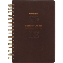 """AT-A-GLANCE® 13-Month Signature Collection Weekly/Monthly Planner, 5-1/2"""" x 8-1/2"""", Distressed Brown, January 2022 To January 2023, YP20009"""