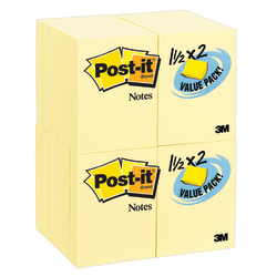 "Post-it® Notes, 1-1/2"" x 2"", Canary Yellow, Pack Of 24 Pads"