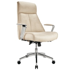 Realspace® Devley Modern Comfort Bonded Leath-Aire Executive High-Back Chair, Cream/Chrome