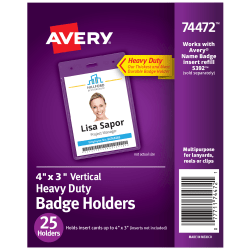 """Avery® Badge Holders, Vertical Prepunched, 3"""" x 4"""" Badge, Box Of 25"""