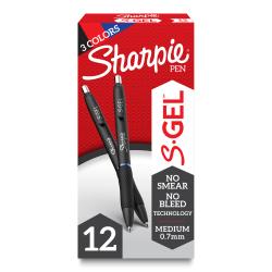 Sharpie® S Gel Pens, Medium Point, 0.7 mm, Black Barrels, Assorted Ink, Pack Of 12 Pens