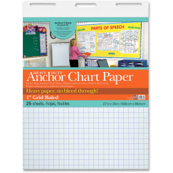 """Pacon Heavy Duty Anchor Chart Paper - 25 Sheets - Grid Ruled - 1"""" Ruled - 1 Horizontal Squares - 1 Vertical Squares - 27"""" x 34"""" - White Paper - 4 / Carton"""