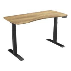"Loctek 55""W Height-Adjustable Desk, Black/Wood"