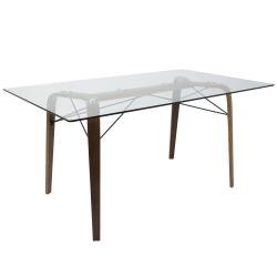 Lumisource Trilogy Mid-Century Modern Dining Table, Rectangular, Glass/Walnut
