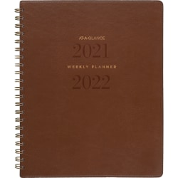 """AT-A-GLANCE® 13-Month Signature Collection Academic Weekly/Monthly Planner, 8-1/2"""" x 11"""", Brown, July 2021 To July 2022, YP905A09"""
