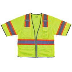 Ergodyne GloWear® Safety Vest, 2-Tone Hi-Vis Surveyor 8346Z, Class 3, Small/Medium, Lime