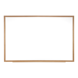 "Ghent Dry-Erase Whiteboard, 48 1/2"" x 60 1/2"", Wood Frame With Brown Finish"