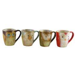 Gibson Owl City 4-Piece Owl Mug Set, 17 Oz, Assorted Colors