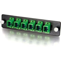 C2G Q-Series 6-Strand, SC, Zirconia Insert, SM, APC, Green SC Adapter Panel - 6 x SC - 6 Port(s) - 6 x RJ-11 - 6 x