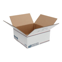 """United States Post Office Shipping Boxes, 12"""" x 12"""" x 5-1/2"""", White/Blue/Red, Pack Of 20 Boxes"""