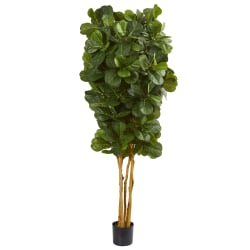 Nearly Natural 7'H Artificial Fiddle Leaf Fig Tree With Pot, Green/Black