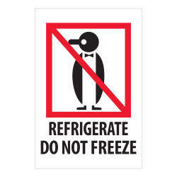 "Tape Logic International Safe-Handling Labels, ""Refrigerate Do Not Freeze"", Rectangular, IPM505, 4"" x 6"", Multicolor, Roll Of 500 Labels"