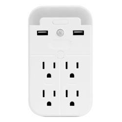 Aluratek LED Nightlight With 4 AC Outlets And 2 USB Ports, White